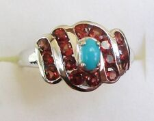 Turquoise & Garnet Ring in 925 Sterling Silver size 5.25
