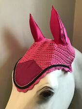 Candy Pink Bling Horse Crochet Fly Bonnets (Horse, 7. Black)