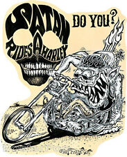 Satan Rides A Harley STICKER Decal Motorcycle Fink Art Von Franco VF46 Roth Like