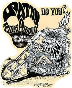 Satan Rides A Harley STICKER Decal Motorcycle Fink Art Von Franco VF46 Roth Like