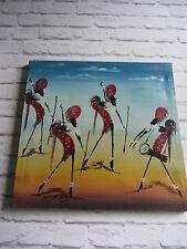 Mediados de siglo firmada pintura Africana Pintada De Lona Retro 50s 60s Rojo Gris