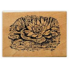 Water Lily Scene mounted rubber stamp, Japanese, asian, oriental pond flower #12