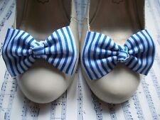 PAIR WHITE ROYAL BLUE STRIPE FABRIC BOW SHOE CLIPS NAUTICAL SAILOR RETRO STYLE