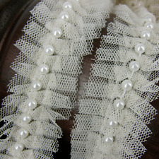 1m of Cream Lace and Pearl Beaded Trim Ribbon Wedding Bridal  Vintage Inspired