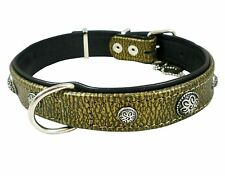 "Dog Collar Studded 17""-22"" neck High Quality Genuine Leather"