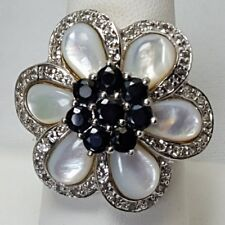 HSN Sima K Mother-of-Pearl Sapphire Flower Ring SZ 9