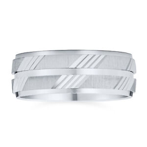 Unisex Diamond Cut Striped Wedding Band Ring .925 Sterling Silver 7MM