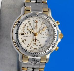 Mens Tag Heuer 6000 18K Gold & SS Chronograph Watch - White Dial - CH1150