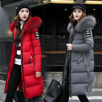 Women Fur Collar Hooded Coat Winter Ladies Long Parka Warm Quilted Padded Jacket