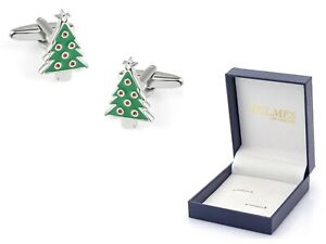 NOVELTY CUFF LINKS CHRISTMAS TREE MENS GREEN GIFT BOX CUFFLINK NO RESERVE 1P!!
