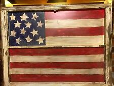 American Flag Window Frame Hand Painted  28 x 35 indoor / outdoor USA