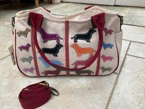 Dachshund Sausage Dog Weiner Dog Suede Applique & Canvas Handbag Anh & Art NWT