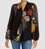 $745 Kobi Halperin Women Black Floral V-Neck Long-Sleeve Silk Blouse Top Size XS