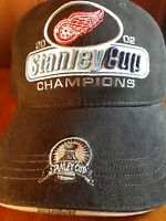 NHL Detroit Red Wings 2002 Stanley Cup Champions New Era Hat Hockey Rules Black