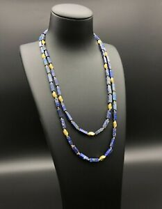 Gold Plated 2 Strands Natural Lapis Lazuli Necklace