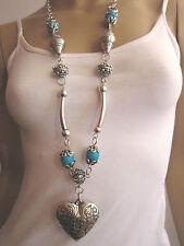 Modekette lang Damen Hals Kette Bettelkette Modeschmuck Silber Türkis Herz R36