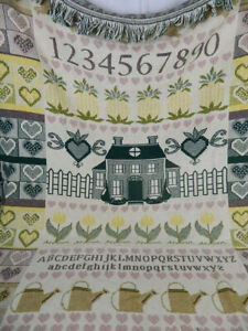 Tapestry Sampler Style Country Tulips Blanket Throw