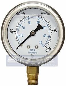 "Liquid Glycerin Filled Pressure GAUGE Hydraulic 2.5"" FACE 0-1000 lower 1/4""   MI"