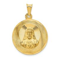 14K Yellow Gold Polished Sagrado Corazon de Jesus Round Pendant