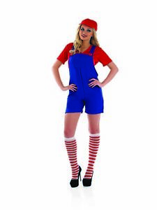 Womens Super Mario Bros Costume Ladies 80s Game Retro Red  Plumber Fancy Dress