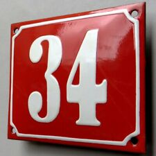 HAUSNUMMER 34 Antikes Emailschild um 1930 TOP und ZUCKERGUSS Eingang Haustür RAR
