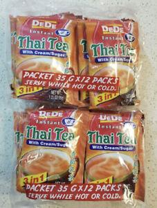 2 Bags 24 Packets  DeDe INSTANT THAI TEA Drink with Cream Sugar 1.23 OZ Each