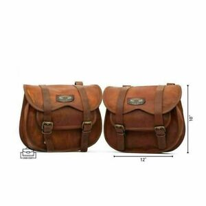 Saddlebags Motorcycle 2 Side Brown Leather Side Pouch Saddle Panniers 2 Bags