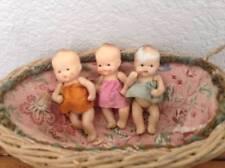 """Vintage 1950s Japan 3"""" Bisque Triplet Baby Girl Dolls"""