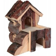 Trixie Two Storey Bjork Dwarf Hamster Mouse House With Ramps Natural Wood 6176