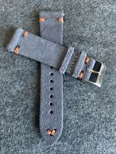 20mm Quick Release GRAY Vintage Suede Leather Watch Strap Band ORANGE Stitching