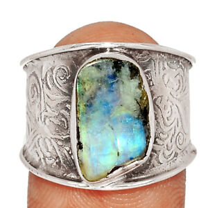 Rainbow Moonstone And Quartz 925 Silver Ring Jewelry s.8 BR67409 204K
