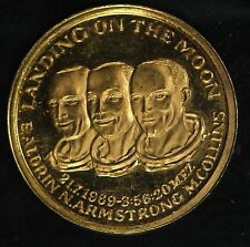 """Landing on the Moon"" Aldrin, Armstrong, Collins Gold Commemorative Medal!!"