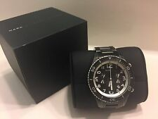"""Marc Jacobs Unisex MBM5025 """"Rock Chrono"""" Black Stainless Steel Watch with Box"""