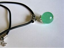 Genuine Fine Green Jade 14mm Pendant , Silver Bail and Cord Necklace