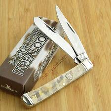 Rough Rider Smooth Brown Appaloosa Bone Trapper Pocket Knife RR1406