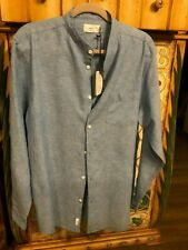 Onia Eddy Mens Linen Woven Shirt Size L Sky Blue  Banded Collar NWT $135