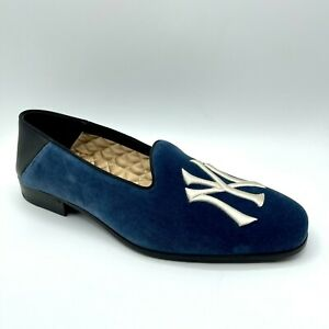 Gucci NY Yankees Men's Blue Velvet Loafer with Bee Logo 8.5/US 9 548866 4292