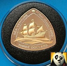 2006 BERMUDA $3 Dollars SHIPWRECK Sea Venture Silver Proof & Gold Plated Coin