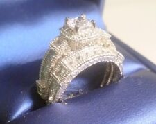 Princess Diamond Engagement Ring Wedding set Vintage Style White Gold ov Size 7