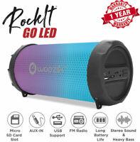 Portable Bluetooth Speaker USB FM Radio LED Lights Wireless Rechargeable Boombox