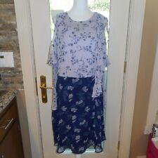 ASOS Sz 14 Purple Blue Green Zipper Long Ruffle Sleeves Floral Dress
