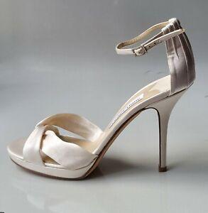 JIMMY CHOO White Ivory Satin open toe shoes 41 11  bridal wedding sexy