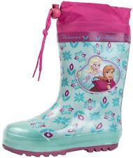 Girls Disney Frozen Rubber Snow Boots Tie Top Wellingtons Wellies Size UK 5-11.5