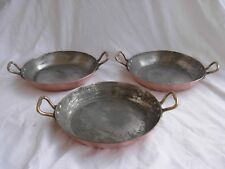 DEHILLERIN PARIS,FRENCH HAMMERED COOPER FRYING DISHES,SET OF THREE.