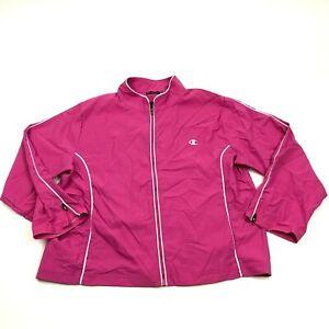 Champion Elite Track Jacket Windbreaker Women's Size Extra Large Pink Full Zip
