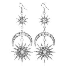 Women Crystal Sun Star Moon Big Ear Stud Dangle Drop Earrings Jewelry Gift CB