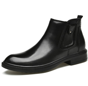 Mens Leather Ankle Boots Black Slip-on Flat Heels Casual Comfort Mid Top Plus 47