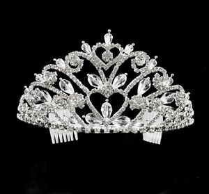 MAGNICIFCENT CLEAR RHINESTONE AND CRYSTAL HEART TIARA - SUIT HIGH HAIRSTYLE