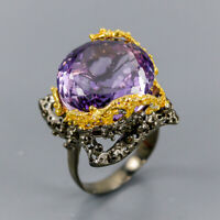 Amethyst Ring Silver 925 Sterling 14 mm. AAA color 22 ct+ Size 6.5 /R138218