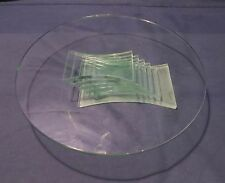 "Stacked glass stand cake plate, plant stand decor 11"" diameter"